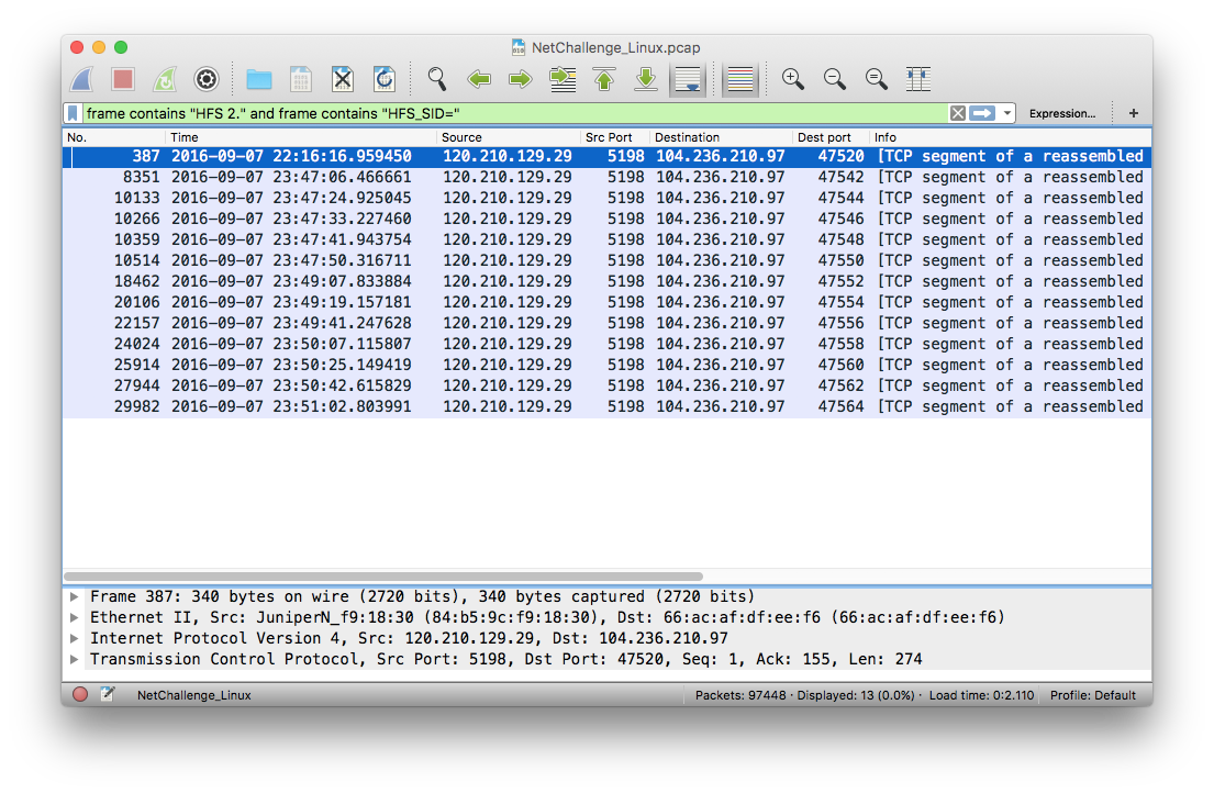Wireshark - HFS packets