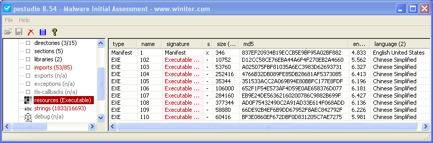 pestudio - resources section of a91261551c31a5d9eec87a8435d5d337