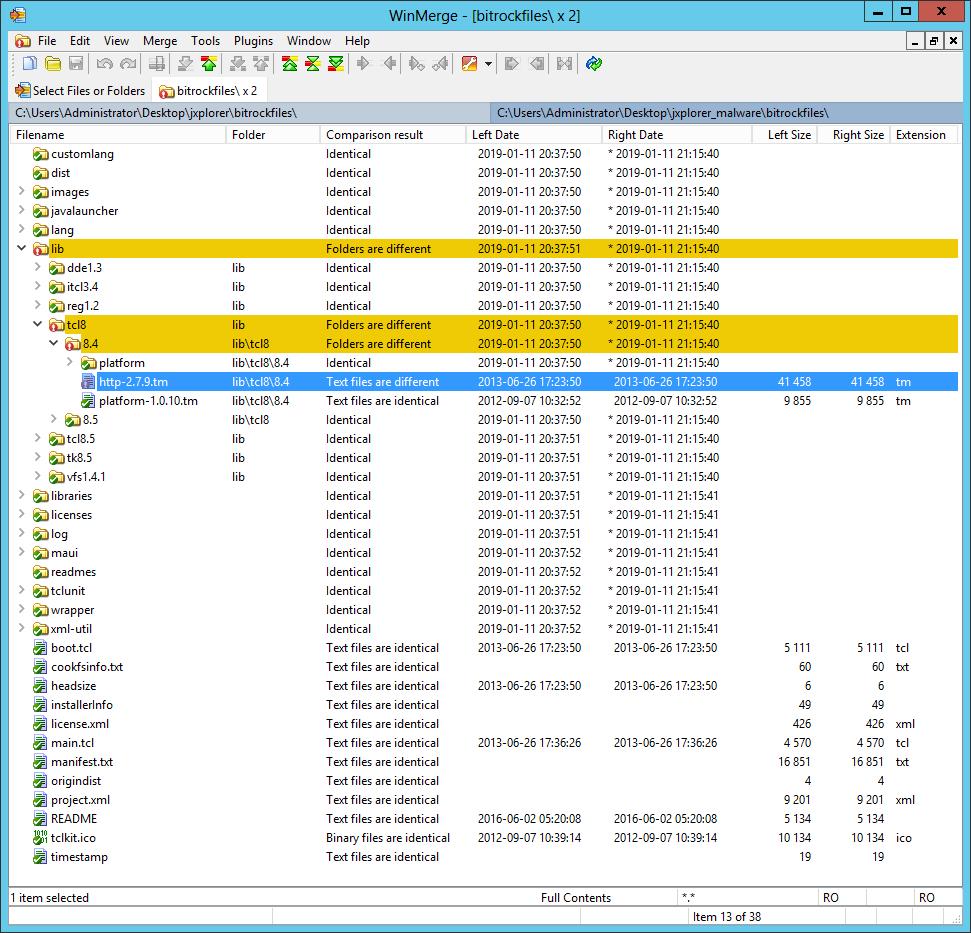 WinMerge - BitRock installer files